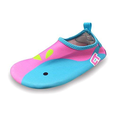 SAGUARO® Eté Aqua Chaussons de Plage Respirant Rapide Chaussures de Nager Surf Piscine Ultraléger Antidérapant Chaussettes pieds nus Yoga Enfants Bébé, Rose28/29 EU