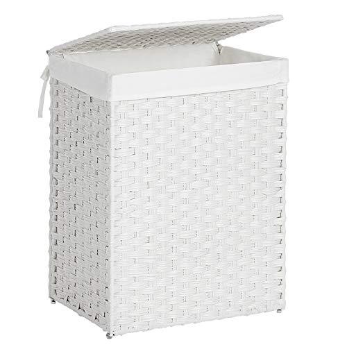 SONGMICS Wäschekorb handgeflochten, Wäschesammler aus synthetischem Rattan, mit Deckel und Griffen, faltbar, Wäschesack herausnehmbar, weiß LCB51WT