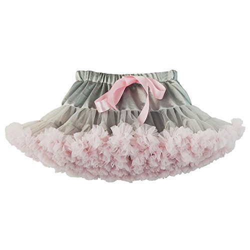 Vividda Mädchen Baby Niedlich Einfarbig Petticoat Tanz Tutu Kostüme Rock Prinzessin Kleid 8-10 Jahr Alt Grau Pink