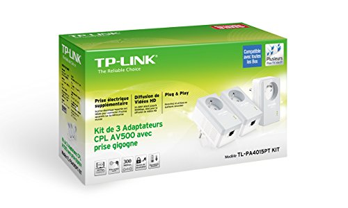 TP-Link TL-PA4015PTKIT 500 Mbps Pack de 3 Adaptateurs CPL (1 Port Ethernet, Prise Intégrée)