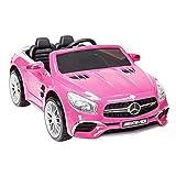 mecor 12V Licensed Mercedes-Benz SL65 AMG Roadster Kids Ride-On Car w/Remote Control 3 Speeds LED Lights & Spring Suspension & Safety Lock, Pink