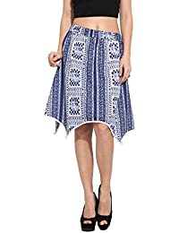 Albely Women's Cotton Printed Asymetric Skirt