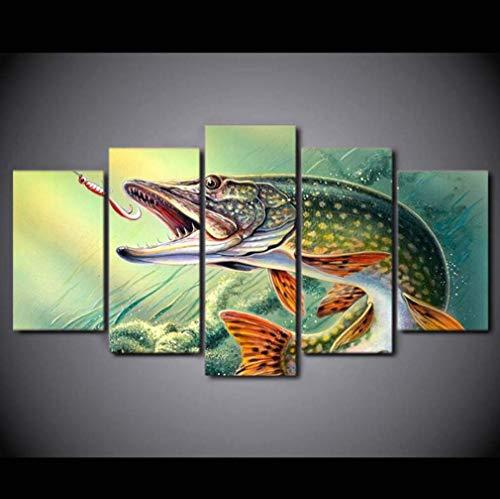 st Digitaldruck 5 Stücke Leinwand Malerei Deko Handwerk Malerei Cartoon Sea Monster Wohnzimmer Schlafzimmer Wandkunst,B,20×35×2+20×45×2+20×55×1 ()