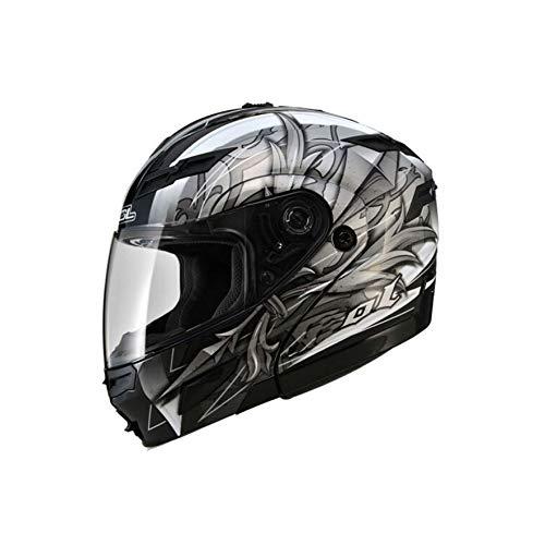 Casco moto, uomini e donne casco a doppia faccia con visiera a luce LED Casco integrale a luce LED, casco a quattro stagioni M/l/xl/xxl/xxxl /, (stile 3/4, ci sono due stili tra cui scegliere)