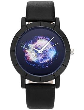 JSDDE Uhren,Geheimnisvoll Sternenhimmel Bunt Universum Armbanduhr Mond Uhrzeiger Schwarz Lederband Analog Qaurz...