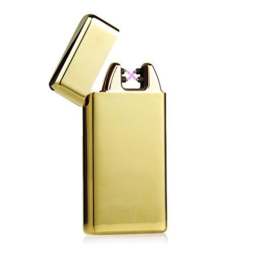 Padgene USB elektronisches Feuerzeug aufladbar lichtbogen (Gold)