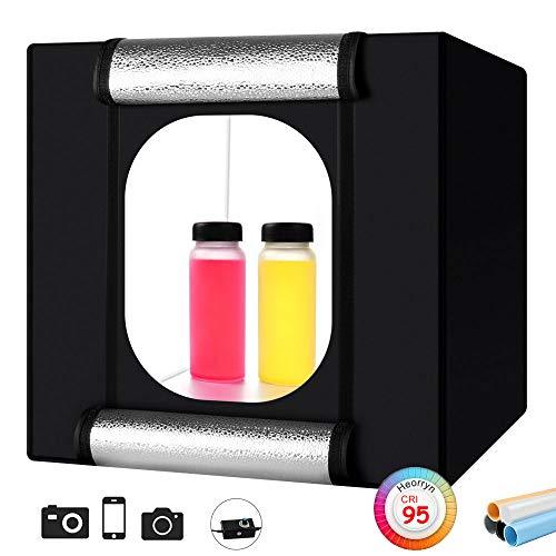 Foto Zelte, Heorryn 40 x 40 x 40cm Faltbare Fotostudio Lichtzelt Kit mit 2 Dimmbare LED-Beleuchtung und 5 Farbhintergründen für die Fotografie