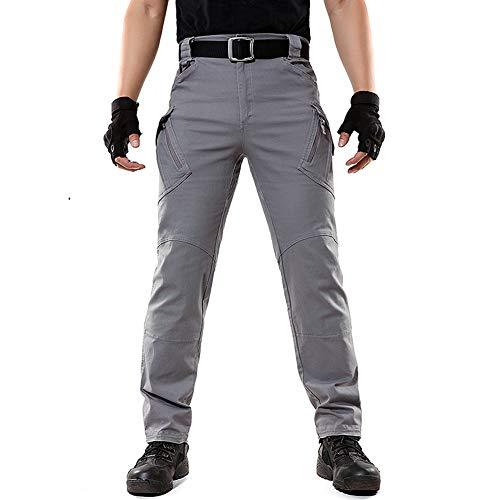 Menargo Cargohose Herren Vintage Leichte Militär Outdoor Chino Hosen viele Taschen Tactical Baumwolle Arbeitshose fit mit Stretch für Jagd Wandern Camping (Grau 3XL) (Herren-taktische Cargo-hosen)