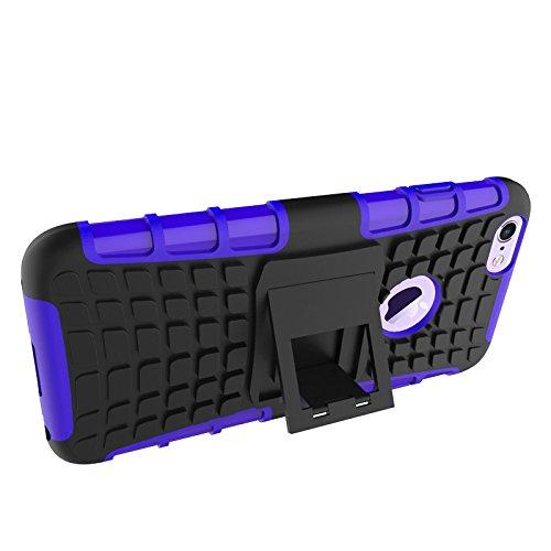 iPhone 6 Coque 2 en 1 Silicone + PC Anti Choc Incassable, Bumper Kits avec Support Case, Incassable Cover Pour iPhone 6s / iPhone 6 (Noir) Pourpre