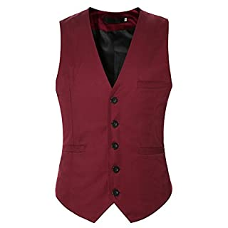 Anyu Mens Single-Breasted Formal Regular Fit Sleeveless Business Waistcoat Vest Wine Red 3XL