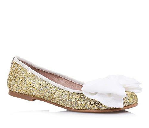 Twinset Milano TWIN-SET - Goldene Ballerina aus Glitzern und Leder, phantasievoll und modisch, auf der Vorderseite eine große Schleife aus Stoff, Mädchen, Damen-34