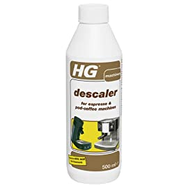 HG Descaler for Espresso and Pod Coffee Pod Machines 500 ml – a descaler Coffee Machine Cleaner which removes Scale