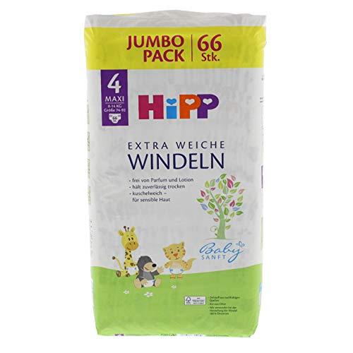 HiPP Babysanft Windeln für Kleinkinder, Größe 4, Geeignet von 8-14 kg, Größe 74-92, Jumbopack, 66 Stück