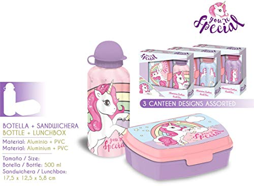 Kids Unicornio - Set Sandwichera y Cantimplora 500 ml, Multicolor, 17.5 x 12.5 x 5.8 cm