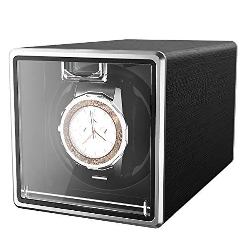 CRITIRON Automatischer Uhrenbeweger 1 Uhr Metall Uhrenbox Uhrendreher Watch Winder für eine Automatikuhr Schwarz 1+0 (Schwarz eine Uhr)