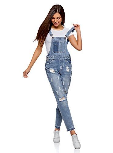 oodji Ultra Damen Jeans-Latzhose im Flickendesign, Blau, DE 34 / EU 36 / XS