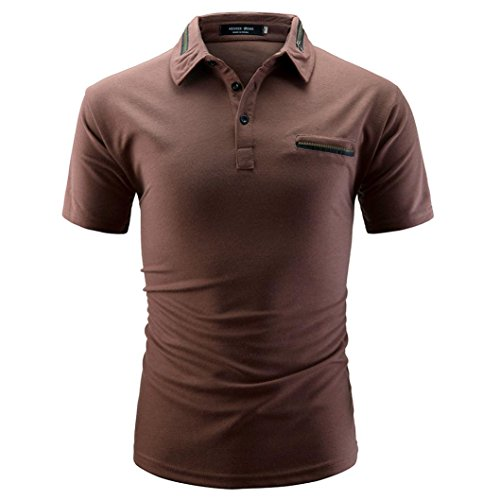 KPILP Herren Shirt Bluse Tops Solid Color Herren Casual Short Sleeve Work Shirt(Coffee,X-Large) (Knit Pullover Cable Marine)