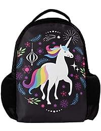 Unicornio Gran Capacidad Mochila Impermeable niño Bandolera para la Escuela y el Tour,27.5x13x40cm