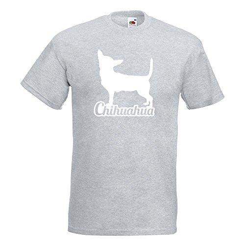 KIWISTAR - Chihuahua mit Name Techichi T-Shirt in 15 verschiedenen Farben - Herren Funshirt bedruckt Design Sprüche Spruch Motive Oberteil Baumwolle Print Größe S M L XL XXL Graumeliert