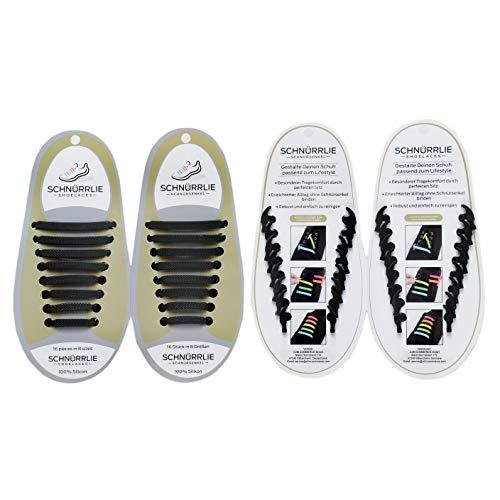 SCHNÜRRLIE Elastische Silikon Schnürsenkel - hochwertiger Schnürbänder Ersatz für Sneaker Sportschuh (16 Stück Schwarz)
