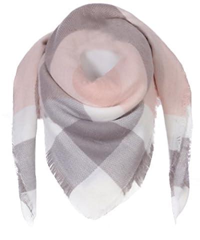 FASHION YOU WANT Damen XXL Schal kariert Karo Muter Quatro Deckenschal Scarf Bolero Tuch Poncho (rosa / grau / weiß)