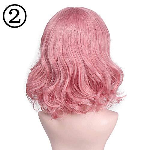 Parrucca parrucche parrucca sintetica ondulata rosa corta con parrucca bang purple wave può essere cosplay halloween capelli per donna parrucca sintetica ondulata rosa corta @ natural color_14inches