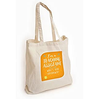 Artylicious I'm a Teaching Assistant what's your superpower, Teacher thank you gift, Cotton Tote shopping bag