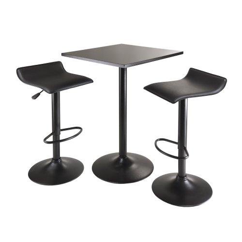 Zähler Höhe Tisch Hocker (Winsome Obsidian Tisch 3er Set mit quadratisch Zähler Höhe Tisch und 2-Airlift Hocker, schwarz)