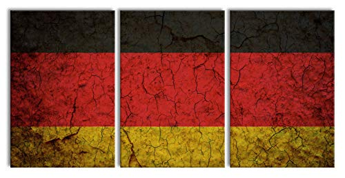 Pixxprint Deutschlandfahne, XXL Leinwandbild in Übergröße 240x120cm Gesamtmaß 3 teilig/Wandbild/Kunstdruck