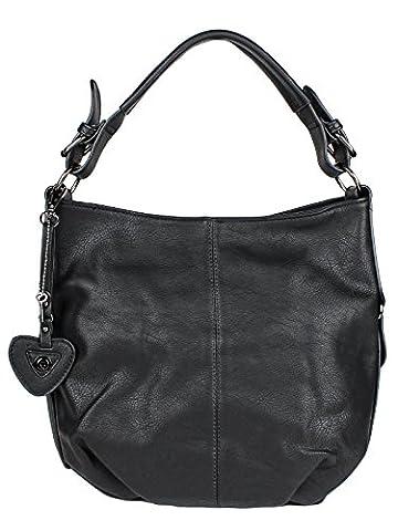 H&D Damen Tasche Hobo Bag mit Herz- und Schlüßel Anhänger - Schultertasche Umhängetasche Kunstleder (Zwei Taschen Hobo)