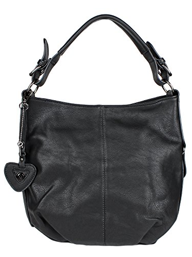 H&D Damen Tasche Hobo Bag mit Herz- und Schlüßel Anhänger - Schultertasche Umhängetasche Kunstleder Schwarz (Logo Hobo Handtasche)