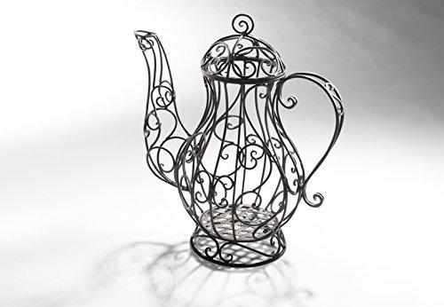 Verspielte Deko-Kaffeekanne im nostalgischen Design aus schwarzem Metall zum Bepflanzen und Dekorieren von kobolo (Die Draht-kaffee-tasse)