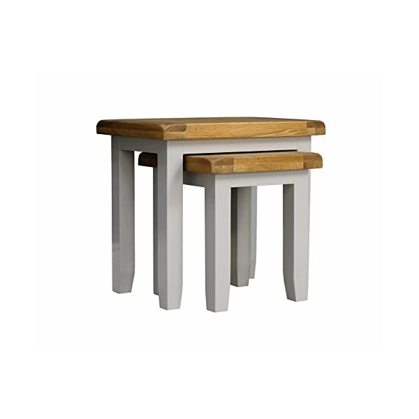 Arklow Painted Oak Dovetail Grey Nest of Tables/Living Room Storage Nesting Tables 41ZlwPKzo0L