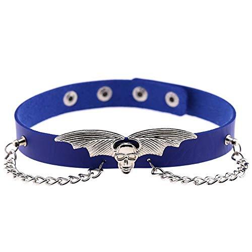 ALECHAIN Punk-Halskette mit Tier-Fledermausflügeln, Geisterkopf-Halskette, Halsband, Brille, Kordel, Geschenkverpackung. blau