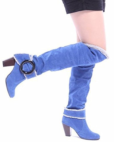 Minetom Donna Autunno Inverno Ginocchio Stivali Tacco Alto Fibbia Boots Tacco Chunky Biker Stivali Blu