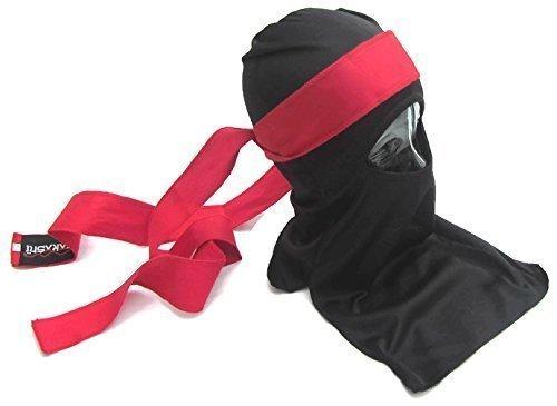 Shinobi Ninja-Maske Ultimate Warrior set Japanische (AKA) Band mit rotem Schal Fancy Kleid, Größe 1 Halloween, Kostüm,