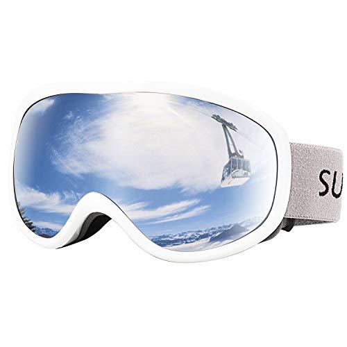 Supertrip Skibrille Herren Damen Snowboardbrille mit Beschlag und UV-Schutz für Brillenträger Antifog Weiß
