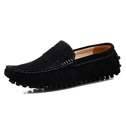 YY-Rui Chaussures basses homme les chaussures plates en cuir sur la feuillet Chaussures Noir