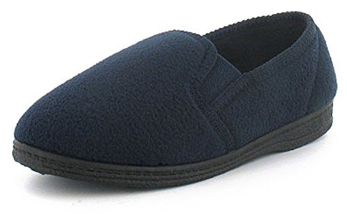 New Boys/Childrens Blue Twin Gusset Polar Fleece Slippers - Navy - UK SIZE 4