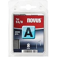 Novus Feindrahtklammern 8 mm, 2000 Klammern vom Typ A 53/8, Heftmittel für Stoffe, Textilien und Drahtgeflecht
