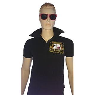 SRAZDA Polo Noir avec Un Grand col - Homme - Coupe Ajustée au Niveau du Buste - Manches Courtes - Modèle Dessin Devant et au Dos en pailleté doré, en Blanc et Velours Rouge