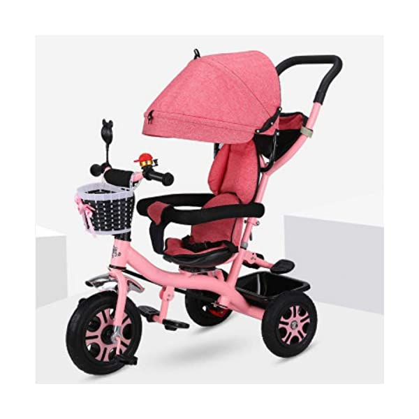 BGHKFF 4 In 1 Children's Hand Push Tricycle 6 Months To 6 Years 2-Point Safety Belt 360° Swivelling Saddle Children's Pedal Tricycle Folding Sun Canopy Childrens Tricycles Maximum Weight 25 Kg,Pink BGHKFF ★Material: Steel frame, suitable for children from 6 months to 6 years old, the maximum weight is 25 kg ★ 4 in 1 multi-function: can be converted into a stroller and a tricycle. Remove the hand putter and awning, and the guardrail as a tricycle. ★Safety design: Golden triangle structure, safe and stable;2 point seat belt + guardrail; rear wheel double brake 1