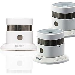 HEIMAN 10-Jahres mini Design Rauchwarnmelder / Smart Smoke Sensor / Rauchmelder / Feuermelder / Brandmelder - weiß - 3-er-Set