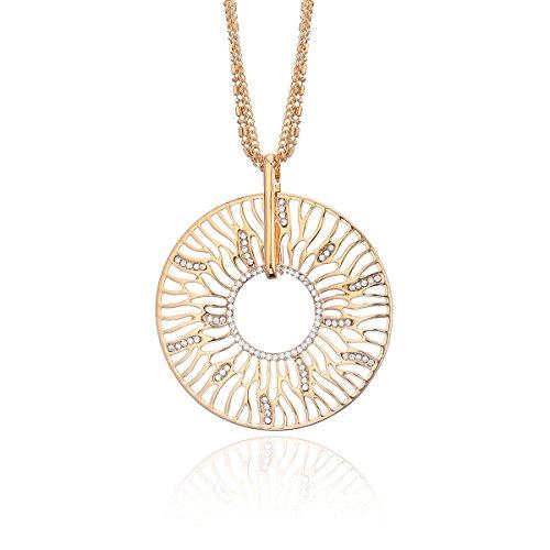 Ouran collana lunga per le donne, geometrico goccia ciondolo/collana per le ragazze brillante cristallo cz collana e placcato oro, cod. xl08215