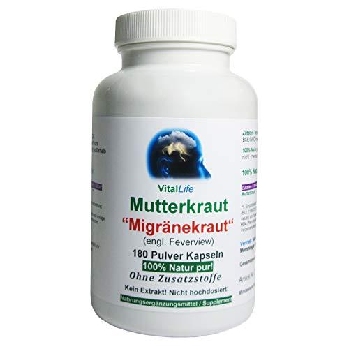 """Mutterkraut""""Migränekraut"""" 180 Pulver Kapseln Natur Pur NICHT hochdosiert KEIN Extrakt OHNE Zusatzstoffe OHNE Füllstoffe. Hergestellt und abgefüllt in Deutschland. 26307"""