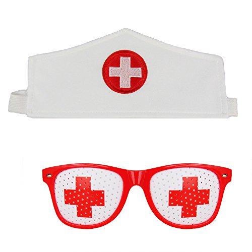 Krankenschwester Set Kostüm - Partybob Krankenschwester Kostüm Set - Haube + Rasterbrille