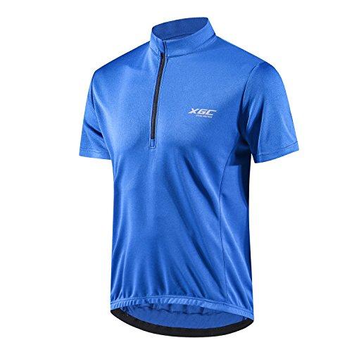 Herren Kurzarm Radtrikot Fahrradtrikot Fahrradbekleidung für Männer mit Elastische Atmungsaktive Schnell Trocknen Stoff 1-2er Packung (Blue, XXXXL)