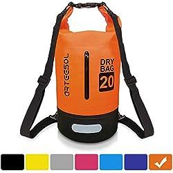 VIPFAN Sac Etanche, 20L Ip66 Sac avec Taille Sangle de Plein Air et Sports Aquatiques Camping Nautique Kayak Pêche - Protéger Iphone Caméra Cash Document Provenant de l'eau (Orange,20L)