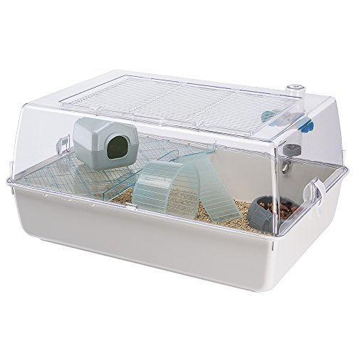 Ferplast 57075499W4 Nagerheim Mini Duna Hamster mit Zubehör, Maße: 55 x 39 x 27 cm, weiße Unterschale