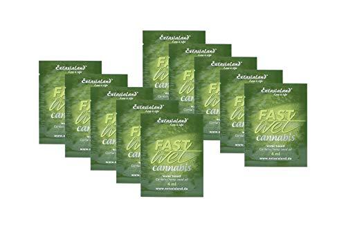 Extasialand Fastwet® Cannabis Gleitgel 10x 4ml Sachets Gleitmittel auf Wasserbasis mit Hanföl - wasserbasiert mit viel Gleitfreude und waterbased Lube